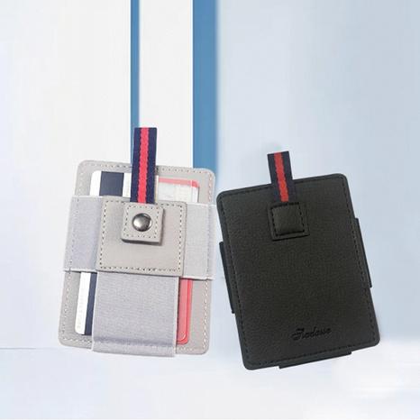 Korean work permit card holder mini buckle leather thin card holder wholesale NHBN323279's discount tags