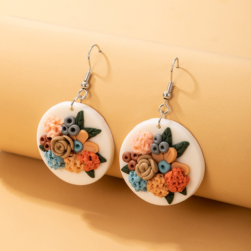 bohemian creative round soft ceramic flower earrings NHGY323313
