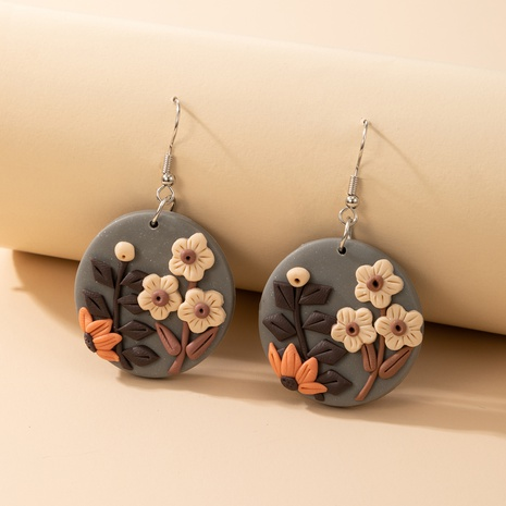 new creative round colored flowers soft clay earrings NHGY323311's discount tags