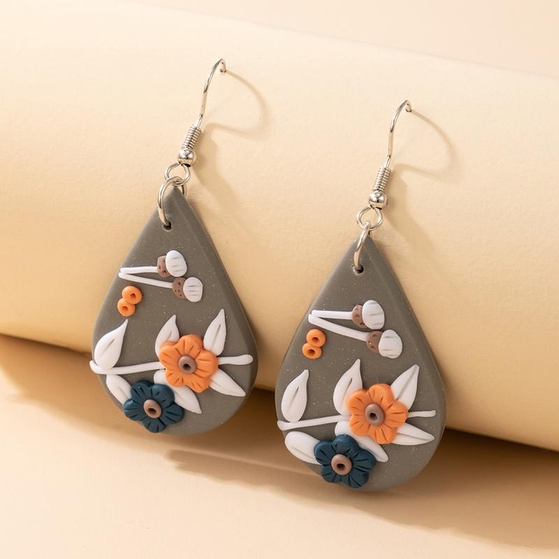new bohemian flower soft pottery earrings NHGY323310