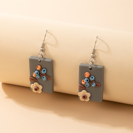 new Bohemian square colored flower pottery earrings NHGY323308's discount tags