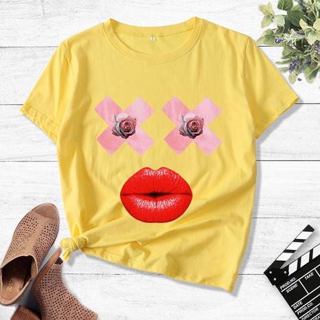 Camiseta casual con estampado gráfico de labios rosas NHZN323306's discount tags