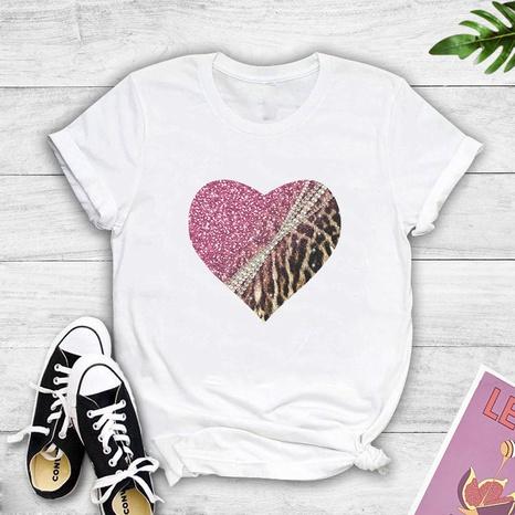 Camiseta casual con estampado de amor de leopardo a juego de colores NHZN323290's discount tags