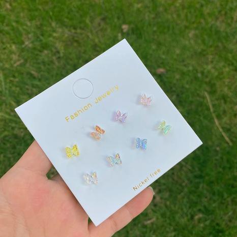Conjunto de pendientes de mariposa linda Aurora de aguja de plata 925 NHPF323359's discount tags