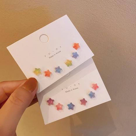 Conjunto de tres piezas de aretes de estrella de cinco puntas de color de aguja de plata 925 coreana NHPF323360's discount tags