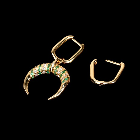 fashion crescent horn diamonds earrings NHPY323364's discount tags