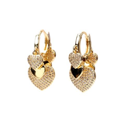 Mode Pfirsich Herz Micro Diamond mehrschichtige herzförmige Ohrringe NHPY323366's discount tags
