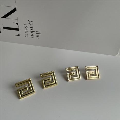 Pendientes de aguja de plata con letra cuadrada de palabra G de metal retro NHYQ323416's discount tags