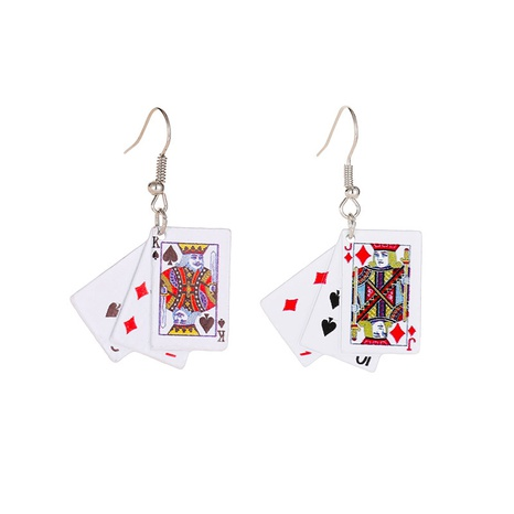 fashion simple playing card earrings NHMO323438's discount tags