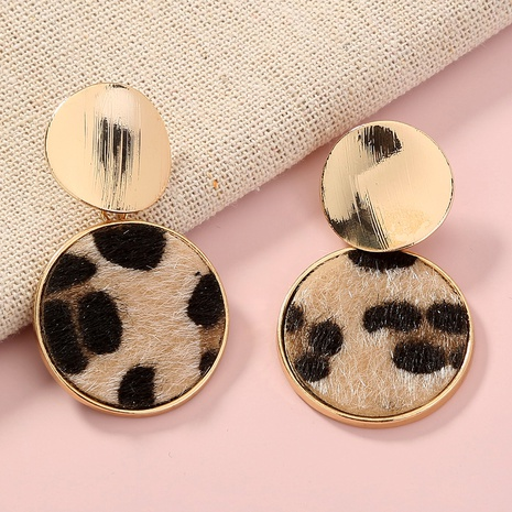 retro plush leopard round metal earrings NHAN323465's discount tags