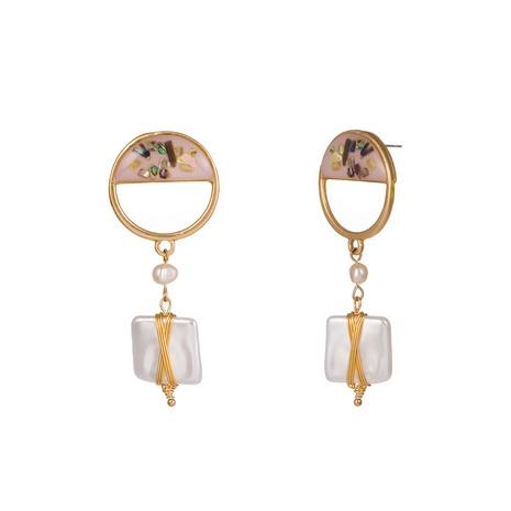 Pendientes cuadrados de perlas de agua dulce naturales con concha de color NHAN323481's discount tags