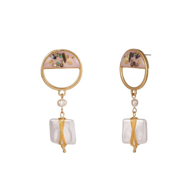 color shell square natural freshwater pearl earrings NHAN323481