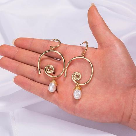 Pendientes redondos de perlas de agua dulce naturales de moda NHAN323490's discount tags