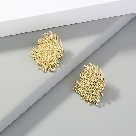 gold fashion cross braided metal earrings NHAN323493's discount tags