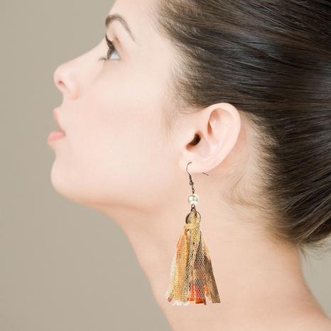 Bohemian mesh fabric lace tassel pearl earrings NHLN323510's discount tags