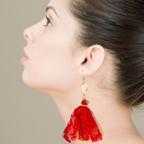 bohemian lace tassel long cloth earrings NHLN323511's discount tags