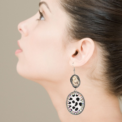 retro geometric natural stone leopard print leather earrings NHLN323514's discount tags