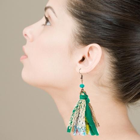 bohemian fabric tassel lace long earrings NHLN323515's discount tags