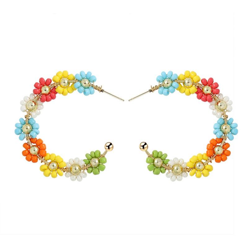 Geometric earrings flower alloy earrings NHJQ323530