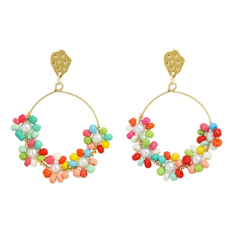 Korean hand-wrapped colorful beads pearl earrings NHJQ323535's discount tags