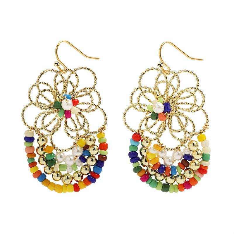 bohemian fashion handwoven flower earrings NHJQ323539