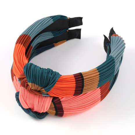 Koreanische horizontale Streifen falten Stoff Kontrastfarbe Stirnband NHJE323547's discount tags