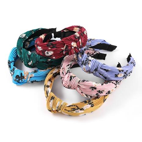 Korean horizontal stripes fold printed fabric headband NHJE323550's discount tags