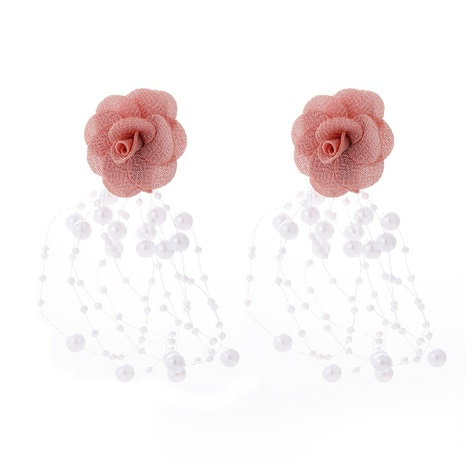 fashion chiffon cloth lace flower pearl tassel multilayer earrings NHJJ323556's discount tags