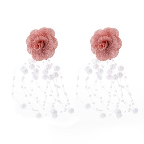 Pendientes multicapa de borla de perlas de flores de encaje de tela de gasa de moda NHJJ323556's discount tags