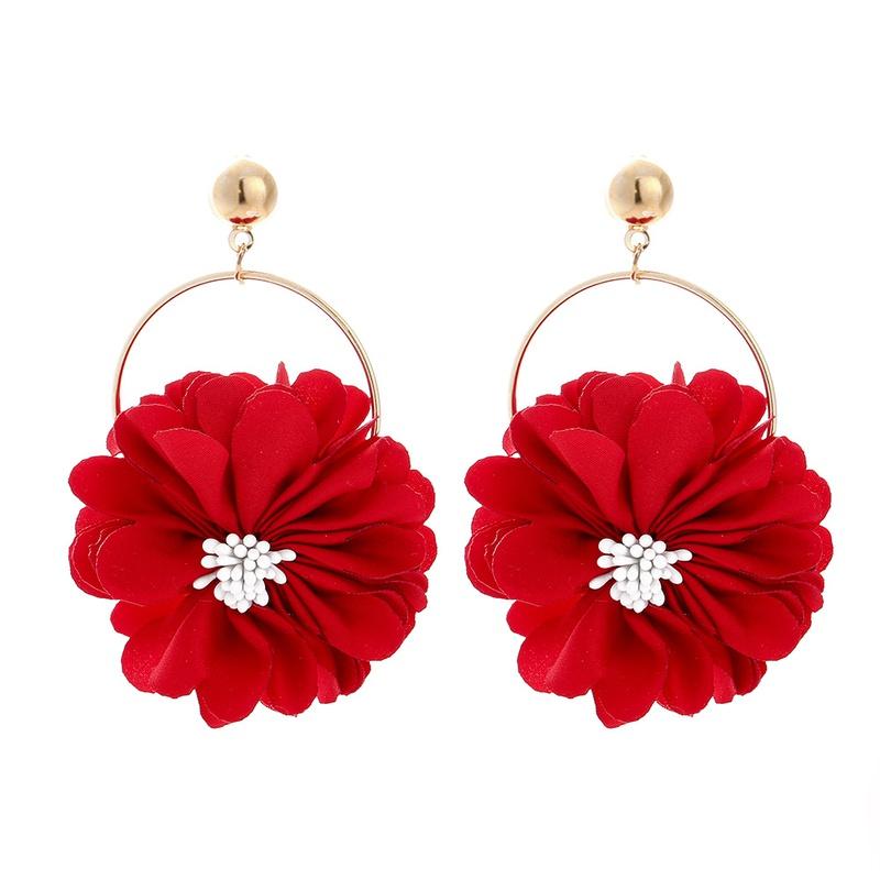 new fashion multilayer chiffon cloth lace flower earrings NHJJ323558