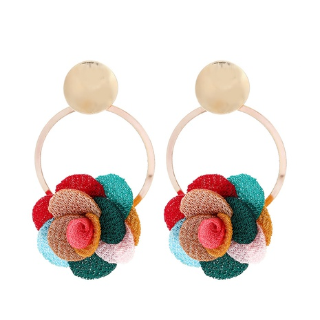 new multilayer chiffon cloth lace flower earring NHJJ323560's discount tags