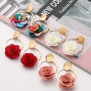 new multilayer chiffon cloth lace flower earring NHJJ323560