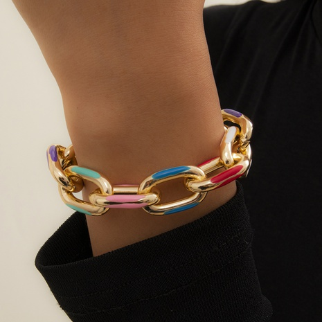 colorful dripping oil metal bracelet NHXR323588's discount tags