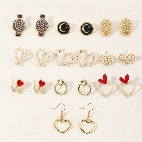 pendientes de perlas con forma de corazón de moda NHNZ323621's discount tags