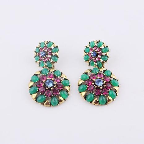 retro baroque flower round earrings  NHWJ323630's discount tags