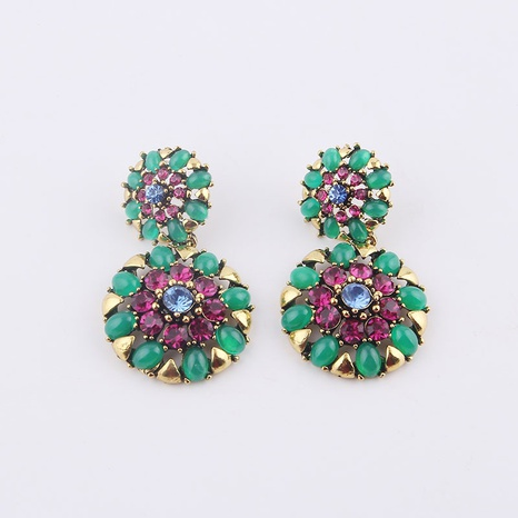retro baroque flower round earrings  NHWJ323630's discount tags