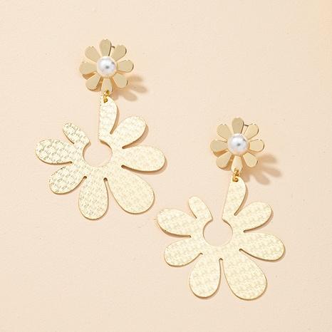 fashion metal pearl flower earrings NHGU323652's discount tags