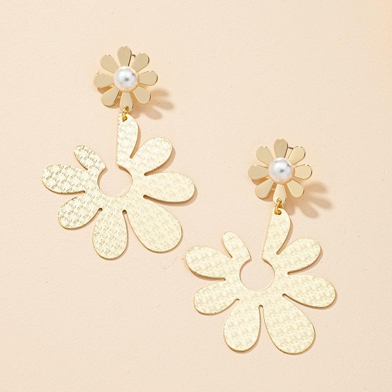 fashion metal pearl flower earrings NHGU323652