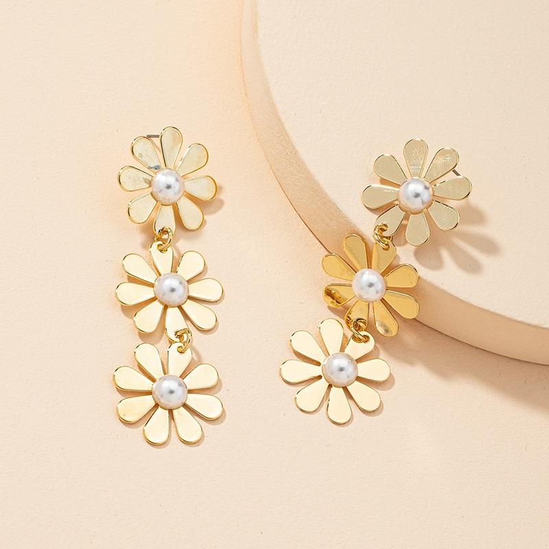 retro fashion flower pearl earrings NHGU323653