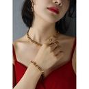 Ushaped horseshoe buckle thick necklace set NHOK323705
