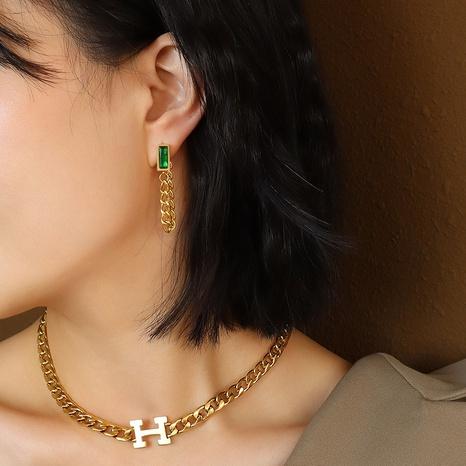 grüne quadratische Diamant-Quastenohrringe NHOK323696's discount tags