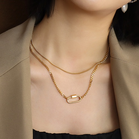 simple geometric double-layer clavicle necklace  NHOK323695's discount tags