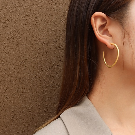 retro large circle C-shaped earrings  NHOK323702's discount tags