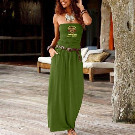 einfaches bedrucktes trägerloses, lockeres, langes Kleid NHUO323767's discount tags