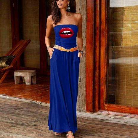 Mode sexy lockeres ärmelloses schulterfreies Kleid NHUO323765's discount tags