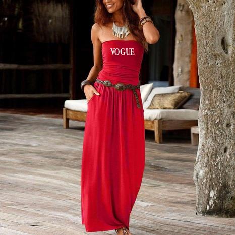 einfaches lockeres sexy trägerloses einteiliges langes Kleid NHUO323763's discount tags