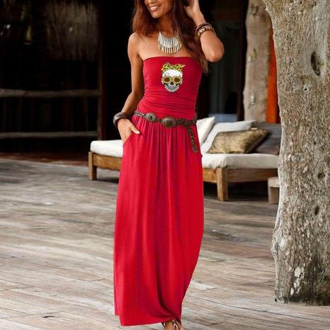 New Fashion Hals trägerlos locker langes Kleid NHUO323759's discount tags