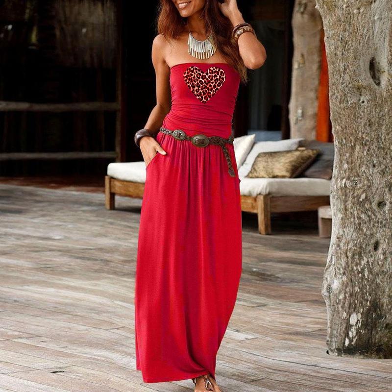 Vestido suelto sin tirantes sin mangas con top de tubo de moda NHUO323758