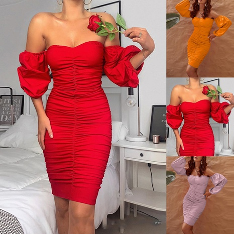neues modisches rotes plissiertes Kleid NHIS323751's discount tags