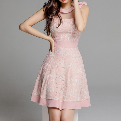 new fashion bow shoulder waist sleeveless dress NHZN323748's discount tags
